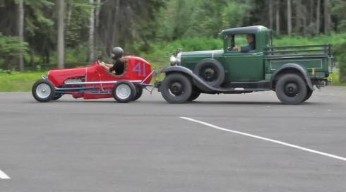 Midget w:'37 Ford Push Truck