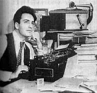 William Saroyan at typewriter