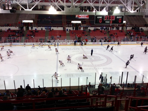 UMD and SCSU during warm ups