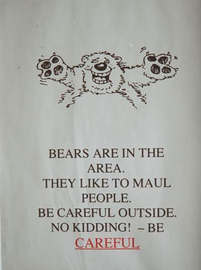 Prudhoe Bear Warning