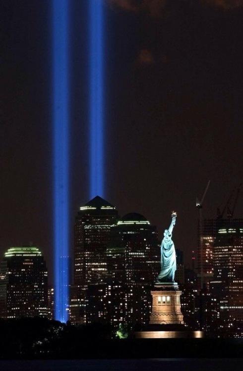Twin Tower Memorial at Night